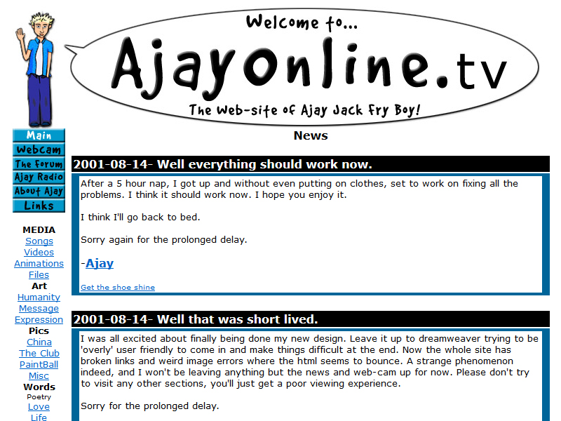A screenshot of Ajayonline.tv, Ajay Fry's website from the early aughts.